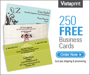 Get 250 Free Business Cards, Free Rubber Stamp, Free Return Address labels, Free Sticky Notes, Free Note Pads, Free Note Cards and Save up to 90% Off Other Products!