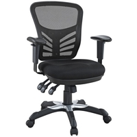 East Ends Articulate Black Mesh Office Chair with Dual-caster Wheels